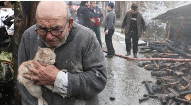 A Fire Took Everything From Him, Except His Cat